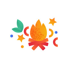 Burning bonfire, campfire, camping scouting element vector Illustration on a white background