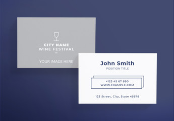 Business Card Layout with Wine Glass Icon
