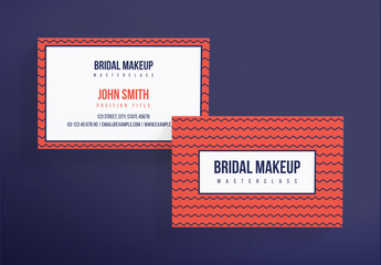 Business Card Layout with Geometric Patterns