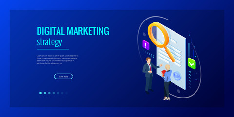 Isometric digital marketing strategy concept. Online business, internet marketing idea, office and finance objects, search engine optimisation, SEO, SMM, advertising. Vector illustration