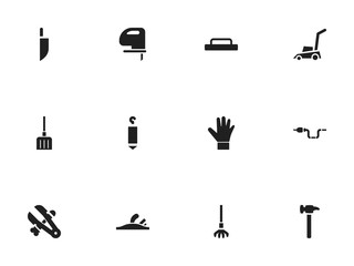Set of 12 editable instrument icons. Includes symbols such as cutter machine, float, lifting and more. Can be used for web, mobile, UI and infographic design.