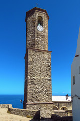 Bell tower of the Cathedral St. Antonio in the historic centre in Castelsardo, Sardinia, Italy