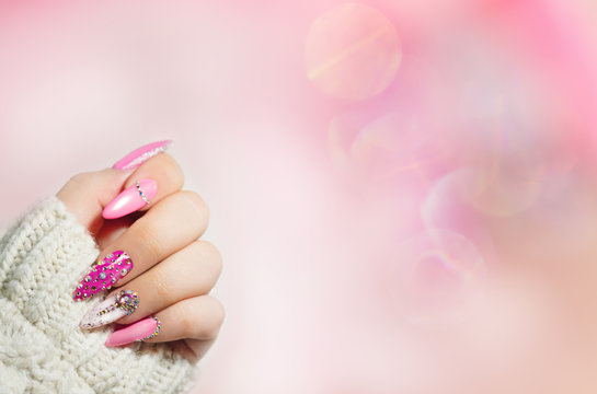 Colorful  Nail art . Manicure.  Holiday style bright Manicure with gems and sparkles. Nail Polish. Fashion with diamond shine , Trendy Accessories. Beauty hands. Stylish Nails, Nailpolish.