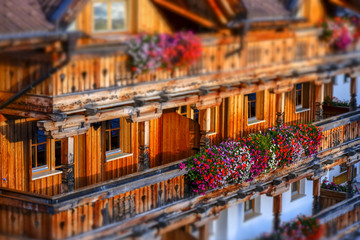 Wooden alp  building facade tilt shift