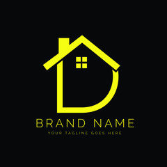 Modern Minimal Real Estate Letter D Logo Design With a House Icon