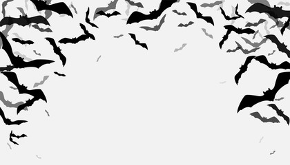 Halloween flying bats border background. Creepy silhouette flittermouse group isolated on white. Copy space in the middle of bottom. Vector illustration
