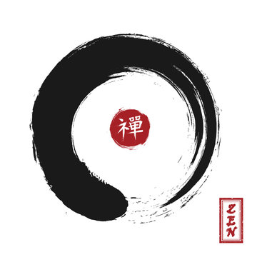 Enso zen circle style . Sumi e design . Black color . Red circular stamp and kanji calligraphy ( Chinese . Japanese ) alphabet translation meaning zen . White isolated background . Vector illustration