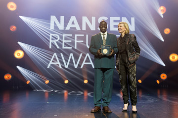 Australian actress and goodwill ambassador for UNHCR Cate Blanchett and Dr. Evan Atar Adaha surgeon and medical director at a hospital in Bunj, South Sudan, laureate of the UNHCR's Nansen Refugee Award, pose for the photographs during gala in Geneva