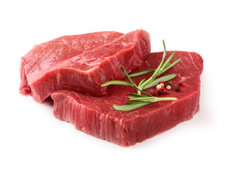 Photo sur cadre textile Viande Raw meat with rosemary and pepper