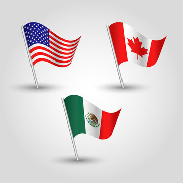 vector set of three waving american, canadian and mexican flags on silver pole - icon of states - the united states of America Mexico Canada Agreement USMCA