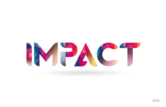 impact colored rainbow word text suitable for logo design