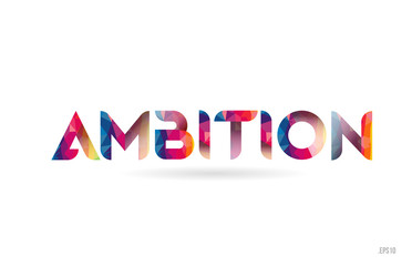 ambition colored rainbow word text suitable for logo design