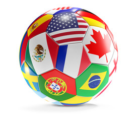 2026 Mexico USA Canada soccer ball flags 3d-illustration