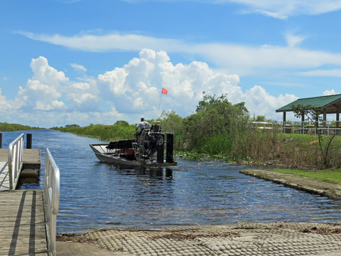 ALLIGATOR ALLEY I-75, FLORIDA - SEPTEMBER 20: Airboat tour guide operator on the swamp canal of I-75 known as Alligator Alley Florida 2018