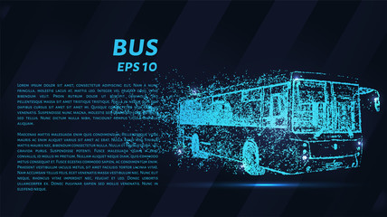 Bus of particles on a dark background. The bus consists of geometric shapes. Vector illustration.