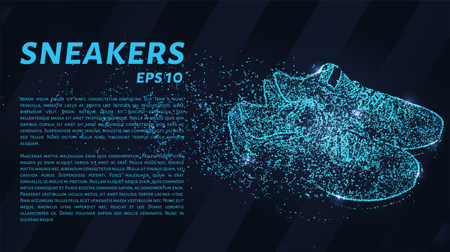 Sneakers of the particles on a dark background. Sneakers consists of geometric shapes. Vector illustration