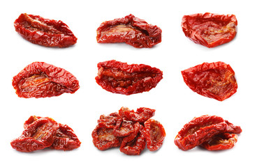 Set with sun dried tomatoes on white background