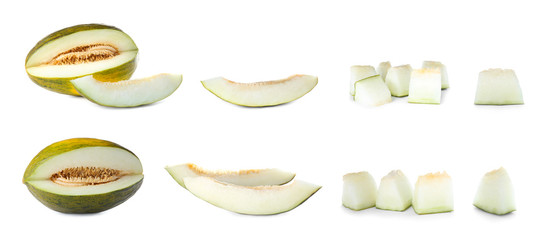 Set with sliced fresh ripe melons on white background