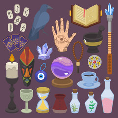 Fortune telling vector fortune-telling or fortunate magic of magician with tarot cards and candles illustration set of astrology or mystical esoteric signs isolated on background