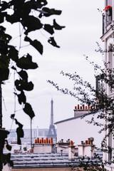 Vue de Paris, immeuble, toits et Tour Eiffel