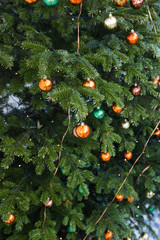 Beautiful colourful decorated christmas tree. Holiday background