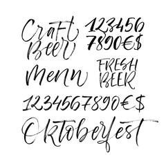 Set of phrase: craft beer, menu, fresh beer, oktoberfest and numbers. Hand drawn brush style modern calligraphy. Vectorillustration of handwritten lettering.