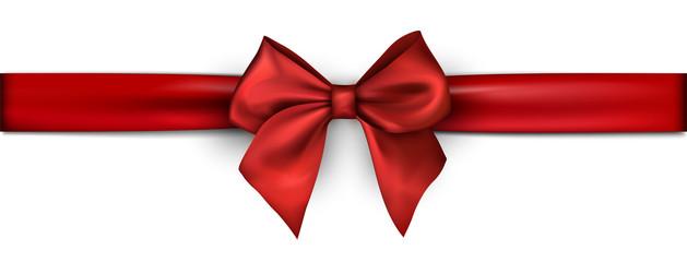 White festive banner with red satin ribbon with bow.