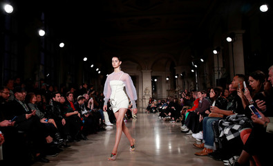 A model presents a creation by designer Esteban Cortazar as part of his Spring/Summer 2019 women's ready-to-wear collection show during Paris Fashion Week in Paris