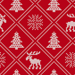Christmas knit geometric ornament with moose and christmas trees. Knitted pattern for a sweater with elk.