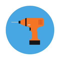 Drill flat icon isolated on blue background. Modern Repair and construction  equipment sign symbol in flat style. Working tools Vector illustration for web and mobile design.