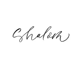 Shalom phrase handwritten with a calligraphic brush. Hello in Hebrew. Ink illustration.