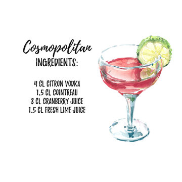 Cosmopolitan cocktail ingridients list recipe. Watercolor hand drawn illustration on white background with text aside