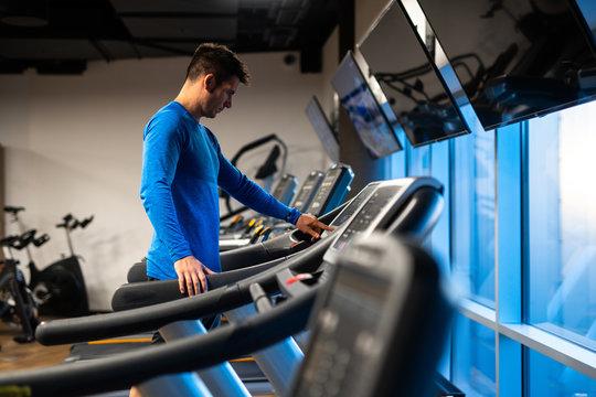 Man jogging on treadmill