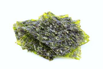 Crispy dried seaweed nori isolated.