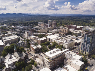 High angle aerial view of downtown Asheville, North Carolina.