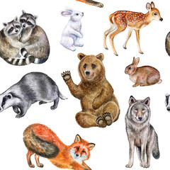 Forest animals pattern isolated on white background. Set of realistic animals. Seamless Pattern. Illustration. Watercolor. Handmade Image. Picture