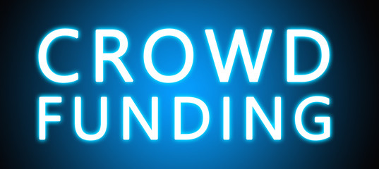 Crowd Funding - glowing white text on blue background