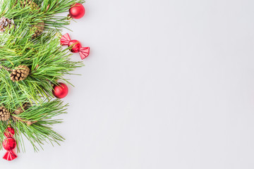 Holiday background with christmas branches and decoration