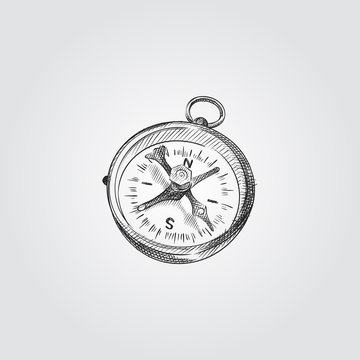Hand Drawn Compass Sketch Symbol isolated on white background. Vector camping elements art highly detailed In Sketch Style. Sketched compass vector illustration.