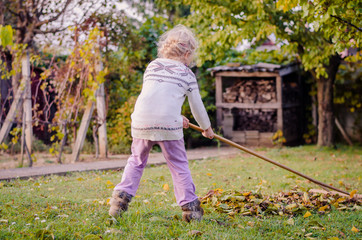child raking fallen leaves