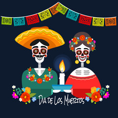 Mexican Dia de los Muertos (Day of the Dead) skeleton couple by a candle, greeting card, vector illustration.