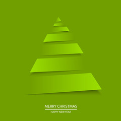 Christmas greeting card with origami tree. Vector.