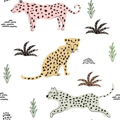 seamless pattern with leopards. background for fabric ,textile ,wallpaper