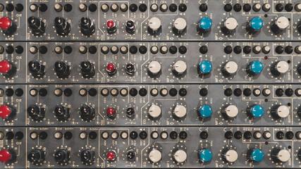 close up of a recording studio's mixer