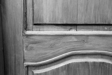 Old doors. Black and white photo