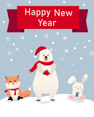 Happy New Year greeting card with cute cartoon animals.