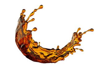 3d render, yellow liquid splash, abstract wavy splashing jet, brandy, whiskey, alcohol, tea, juice, design element, illustration, isolated on white background