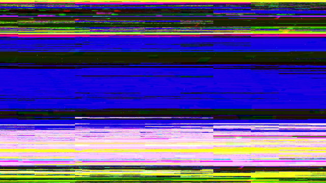 Dynamic glich video, bad tv signal of color display, 3d rendering computer generated background