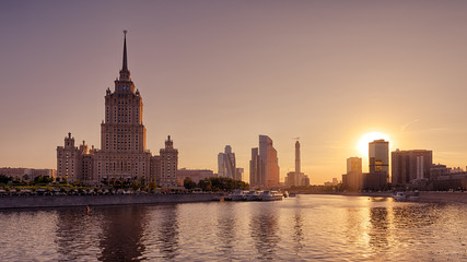 Panoramic view of Moscow at sunset, Russia