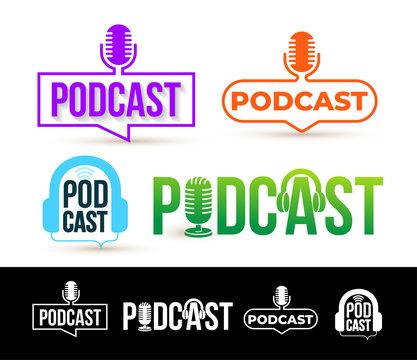 Set of Podcast logo. Badge, icon. Vector illustration. Isolated on white background.
